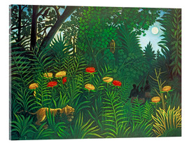 Akrylbilde  Exotic Landscape with Tiger and Hunters - Henri Rousseau
