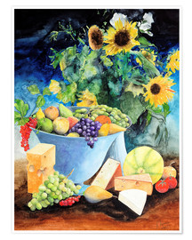 Plakat  Still life with sunflowers, fruits and cheese - Gerhard Kraus