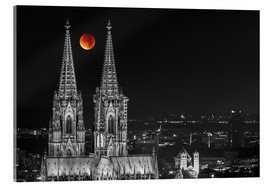 Akrylbilde  Blood Red Moon Cologne Cathedral - rclassen