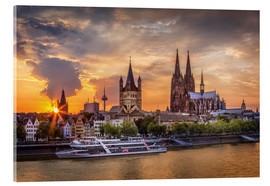 Akrylbilde  Cologne Cathedral and Great St Martin - Jens Korte