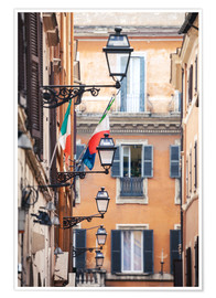 Plakat  Street in the centre of old town with italian flags, Rome, Italy - Matteo Colombo