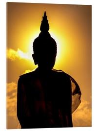 Akrylbilde  Silhouette of Buddha in the temple