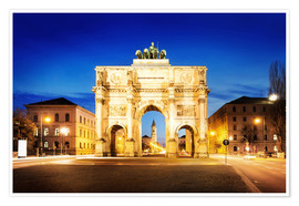 Plakat  Victory Arch in Munich at night