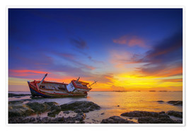 Plakat Shipwreck in the sunset