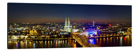 Aluminiumsbilde  A panoramic view of cologne at night