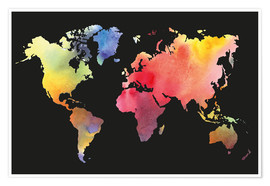 Plakat  World map in water color