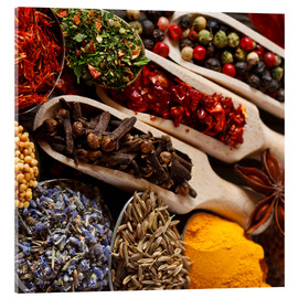 Akrylbilde  Colorful spices and herbs