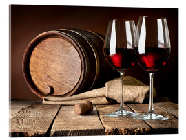 Akrylbilde  Barrel and wine glasses with red wine