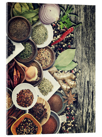 Akrylbilde  Spices And Herbs On Rusty Old Wood
