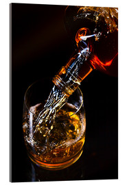 Akrylbilde  whiskey and ice on a glass table