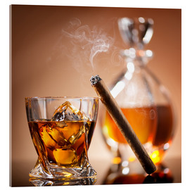 Akrylbilde  Cigar on glass of whiskey with ice cubes