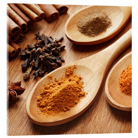 Akrylbilde  Herbs and spices on wood