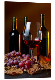 Akrylbilde  red wine with grapes and vine leaves