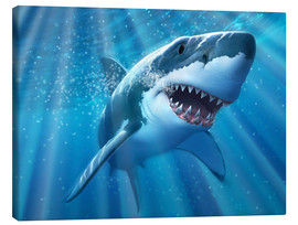 Lerretsbilde  A Great White Shark with sunrays just below the surface. - Jerry LoFaro