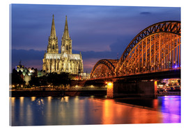 Akrylbilde  Cologne Cathedral and Hohenzollern Bridge at night - Oliver Henze