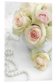 Akrylbilde  Pastel-colored roses with pearls