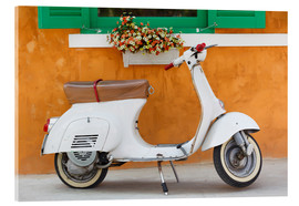 Akrylbilde  White scooter in front of a window