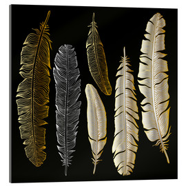 Akrylbilde  Feathers in Gold and Silver