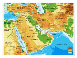 Plakat  Middle East - Topographic Map