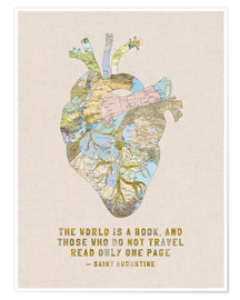Plakat  A Travelers Heart + Quote - Bianca Green