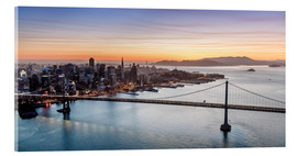 Akrylbilde  Aerial view of San Francisco at sunset, USA - Matteo Colombo