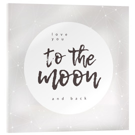Akrylbilde  Love you (to the moon and back) - Typobox