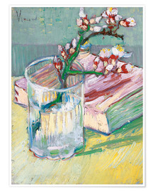 Plakat  Blossoming Almond Branch in a Glass with a Book - Vincent van Gogh