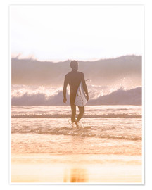 Plakat Lonely surfer on the beach