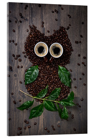 Akrylbilde  Coffee owl from beans, leaves and cups - Elena Schweitzer