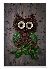 Plakat  Coffee owl from beans, leaves and cups - Elena Schweitzer