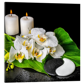 Akrylbilde  Spa concept with candles and orchids