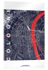 Akrylbilde  City of Cologne Map midnight - campus graphics