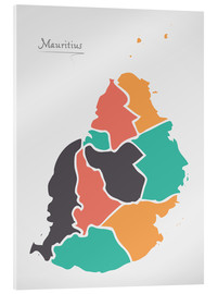Akrylbilde  Mauritius map modern abstract with round shapes - Ingo Menhard