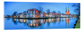 Akrylbilde  Panoramic of Lubeck reflected in river Trave, Germany - Roberto Sysa Moiola