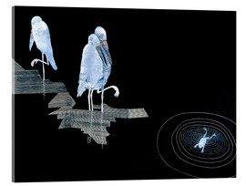 Akrylbilde  Three Storks and a Frog in a Pond - Jean Dunand