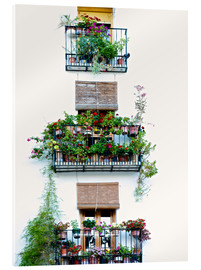 Akrylbilde  Facade with balconies full of flowers in Valencia