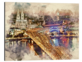 Aluminiumsbilde  Cologne Skyline Cologne Cathedral - Peter Roder