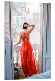 Akrylbilde  Young attractive woman in red dress