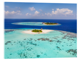 Akrylbilde  Aerial view of islands in the Maldives - Matteo Colombo