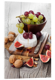 Akrylbilde  Camembert cheese with figs, nuts and grapes
