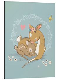 Aluminiumsbilde  Fawn mother and child - Kidz Collection