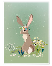 Plakat  Rabbit with wildflowers - Eve Farb
