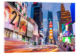 Akrylbilde  Passing vehicles in front of the billboards of Times Square in New York - Neale Clarke