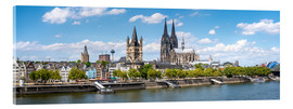Akrylbilde  Cologne Rheinufer with cathedral and town hall - Jan Christopher Becke