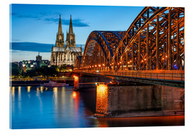 Akrylbilde  Cologne Cathedral and Hohenzollern Bridge at night - Jan Christopher Becke